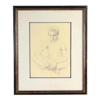 1959 Mid-Century Drawing Pensive Young Boy Sitting on Cracked Sidewalk Dickson