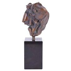 Vintage Mid-Century Modern Brutalist Abstract Bronze Heart Sculpture numbered #2