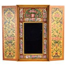 Vintage Midcentury Widdicomb Hand Painted Eglomise Mirror Concealed Cabinet