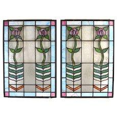 Pair Antique Art Nouveau Art Deco Stained Glass Windows Vertical Flowers