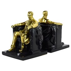 Vintage Metal Sculptural Bookends Lincoln in the Chair after Daniel Chester French