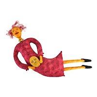 """Deborah Banyas Whimsical Absurdist Figural Wall Sculpture """"She's Getting a Head"""""""