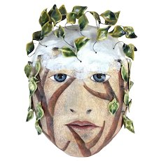 Peggy Bjerkan Art Pottery Mask Face Sculpture w Tree Limbs Leaves Hamadryad