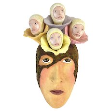 Peggy Bjerkan Art Pottery Surrealist Mask Sculpture Heads Growing Out of Forehead