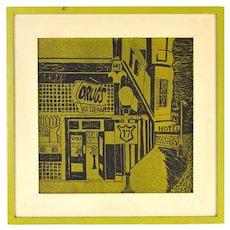 Vintage Modernist Woodblock Print Street Corner Drug Store Ice Cream Shop