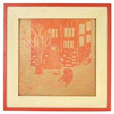 Vintage Modernist Woodblock Print Sullen Man on Knees in Front of Building