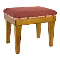 Vintage Mission Arts & Crafts Style Oak Footstool Ottoman with Upholstered Top