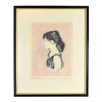 Vintage Lithograph Profile of Young Girl Artist's Proof Lila Copeland