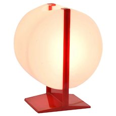 Vintage Atomic Space Age Mid-Century Modern Red and White Plastic Table Desk Lamp
