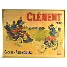 1900 L.C. Bombled Original Lithographic Poster Clement Military Bicycles Automobiles
