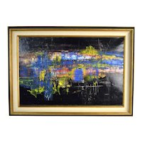 Vintage 1960's Midcentury Modern Abstract Oil Painting Chicago? Artist