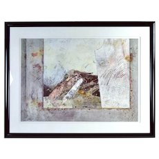 Large Vintage Modern Textural Abstract Painting Chicago Artist Sandra Gierke