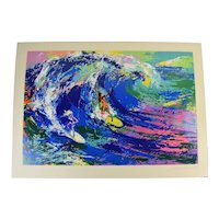 "Original Leroy Neiman ""Hawaiian Surfers"" Man & Woman Surfing Signed L/E Lithograph"