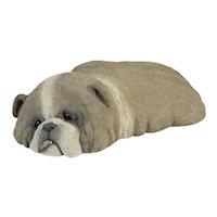 Original 1987 Lou Rankin Concrete Resting Bulldog Dog Sculpture signed