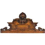 Antique Renaissance Revival Carved Oak Architectural Crest Pediment Wall Plaque