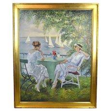 "Andres ""Palach"" Palacios ""At the Lake"" Oil Painting Woman in 1920's Era Clothing"