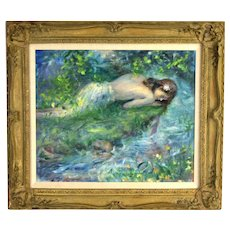 "American Impressionist Painting ""Narcissa"" Nude Beside Pond Cydney Grossman"