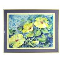 "Vintage Still Life Watercolor Painting ""Summer Serenade"" Yellow Hibiscus Flowers Higgs"