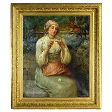 J. Califano C. 1900 Impressionist Portrait of Lace Maker Oil Painting Chicago Italian