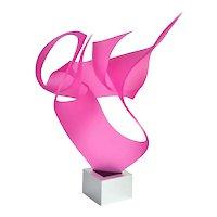 "Michael Plaminek Modern Geometric Abstract Acrylic Sculpture ""Pink Dream"""