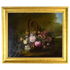 Antique 19th Century Luminous Still Life Oil Painting Basket of Flowers w Butterfly