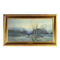 19th Century Virginia Blue Ridge Landscape Painting w Horsecart Edwin Lamasure