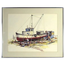 "Albert Alfredson ""Caulking the Hull"" Worker Tending Fishing Boat Oil Crayon"