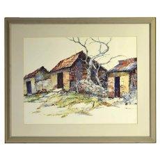 """Albert Alfredson """"Humble Homes"""" Lake Chapala Mexico Oil Crayon Painting"""