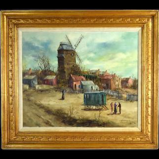 Vintage Marcel Caradec French Oil Painting Travelers in Caravan Wagon