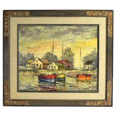 Jules Duffart Midcentury Modern Abstract Oil Painting Sailboats in Harbor