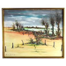 Emil Gerard Midcentury Modern Abstract Oil Painting Lagoon Dune Landscape