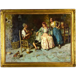 Antique Giuseppe Giardiello Italian Oil Painting Osteria Interior Musician Women Singing