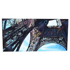 Huge 1997 Industrial Steel Architecture Painting Eiffel Tower from Below sgd Narea