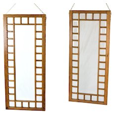 Pair Antique Oak Framed Beveled Glass Windows Hanging Room Dividers Not Leaded