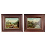 Pair Mountain Woodland Landscape Oil Paintings Pine Forests Stream w Foot Bridge