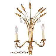 Mid-century Italian Gilt Metal & Crystal Sheaf of Wheat Wall Sconce Lamp