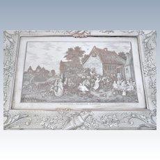 Vintage Engraved Silver Plate Cigar Jewelry Box Flemish Village Celebration Party