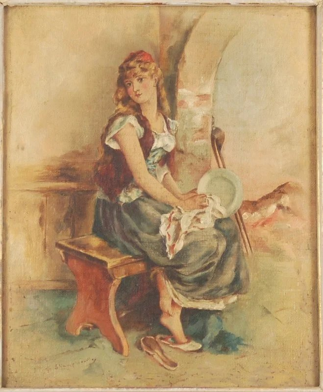 19th Century Oil Painting Pretty Barefoot Girl Seated On