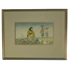 Finely Painted Watercolor Painting Fish Peddler on Beach with Cat