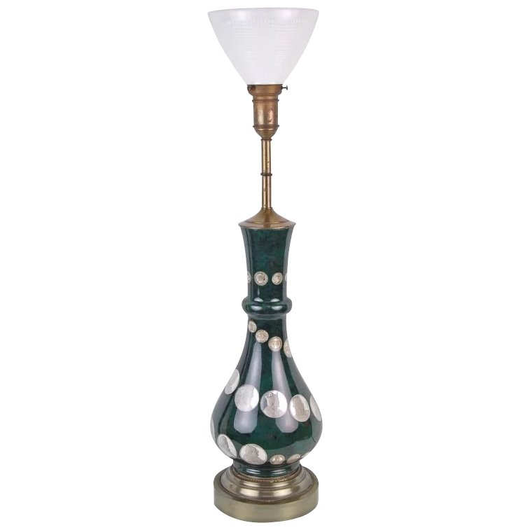 Romantic The Harp Shaped Crystal Base Of The Olympia: Vintage Eglomise Glass Table Lamp Rare Coins Medallions