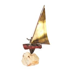 Curtis Jere Mid Century Modern Metal Art Sculpture Single Handed Sailboat