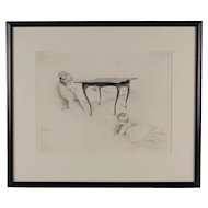 19th C. Paul Cesar Helleu Belle Epoque Etching Cache-Cache Mother & Infant