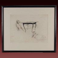 19th C. Paul Cesar Helleu Belle Epoque Etching Cache-Cache Mother & Infant