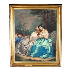 Large 19th Century Oil Crayon Painting or Drawing New Orleans Ladies