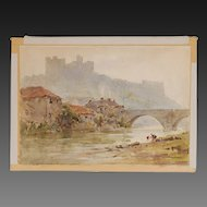 English Watercolour Richmond Castle by Arthur Gerald Ackermann