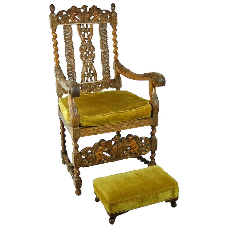 Antique Carved Renaissance Style Throne Chair Double Eagles Cherubs Angels - Antique Carved Renaissance Style Throne Chair Double Eagles