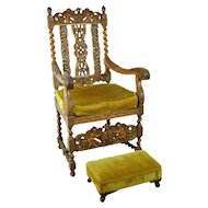Antique Carved Renaissance Style Throne Chair Double Eagles Cherubs Angels