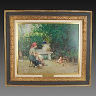 Italian Impressionist Oil Painting Mother in Garden with Infant Baby & Bird