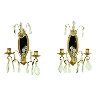 Pair French Gilt Bronze Mirrored Candle Sconces Crystal Prisms Pendalogues
