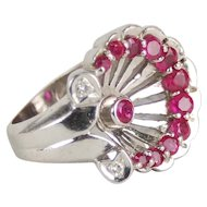 Estate Art Deco 14k White Gold Ruby Diamond Horseshoe Palmette Anthemion Ring